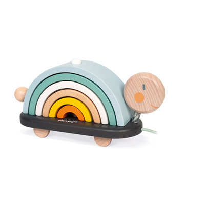 Janod Houten speelgoed - Schildpad regenboog - Sweet cocoon