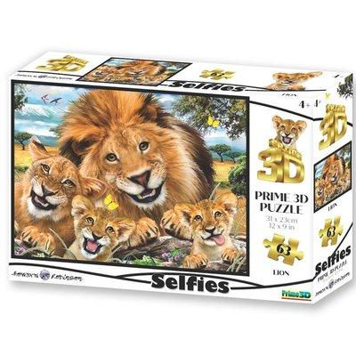 Prime3D 3D puzzel - Leeuwen selfie, 63 stuks