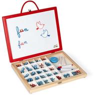 Janod School/magneetbordkoffer 4 in 1 - kleine letters leren