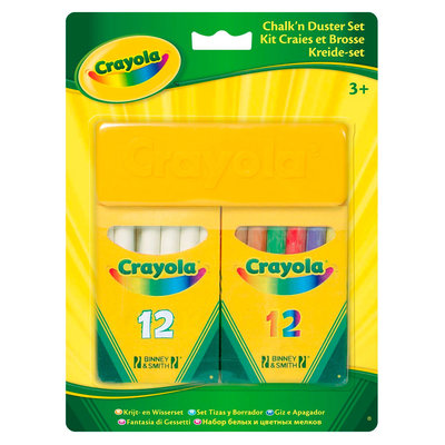 Crayola Schoolkrijt - wit en gekleurd met wisser