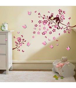 XXL-pakket: Aap met roze bloemen en 3D vlinders