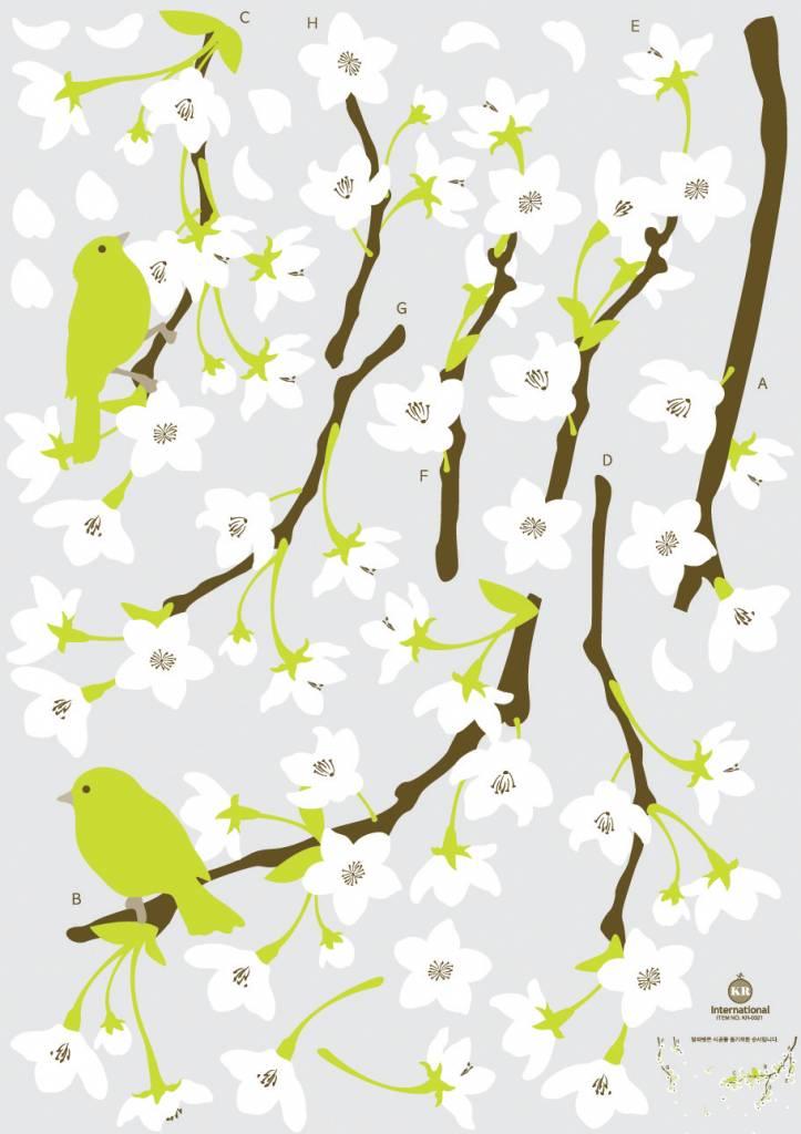 Takken met witte bloemen