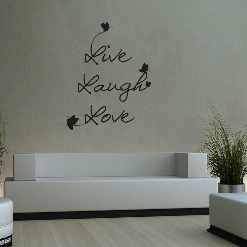 Muursticker Live Laugh Love modern