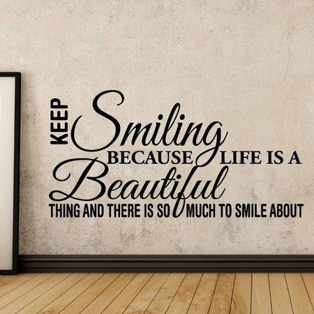 Muursticker Keep smiling - tekst