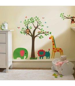 Muursticker boom met vrolijke dieren