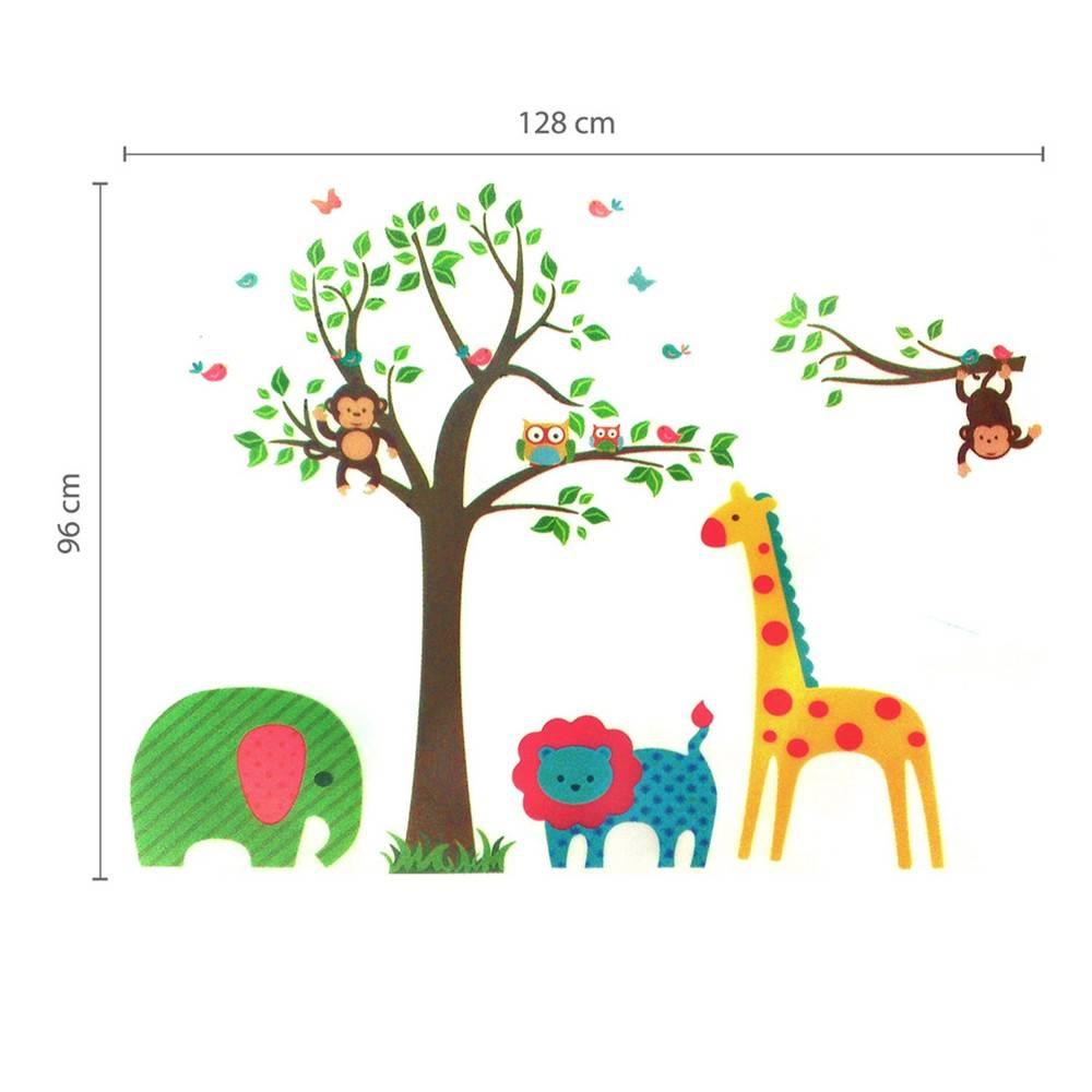 Muursticker vrolijke dieren bij een boom