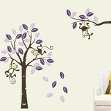 Muursticker boom met aapjes paars