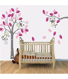 Muursticker boom met aapjes fuchsia roze grijs