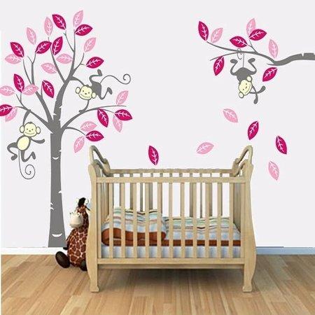 Muursticker boom met 3 slingerende aapjes fuchsia roze grijs