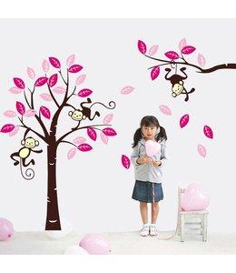 Muursticker boom met aapjes fuchsia roze bruin