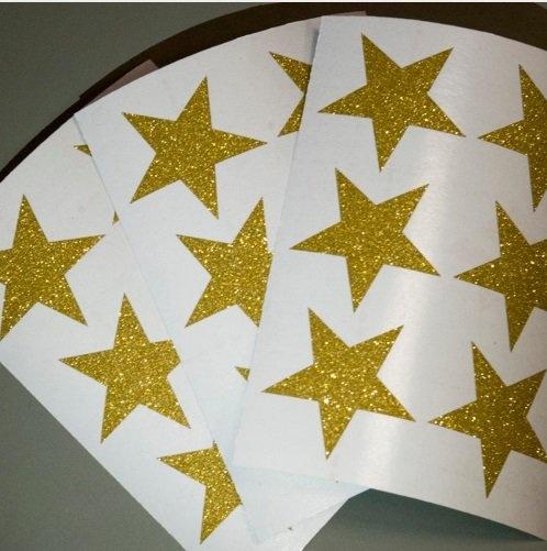 Muursticker glitter sterren goud