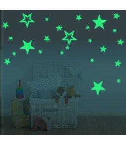 Muurstickers glow in the dark sterren