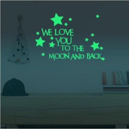 Muursticker we love you to the moon glow in the dark
