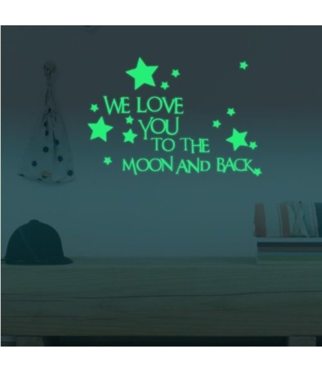 Muursticker we love you to the moon glow in the dark