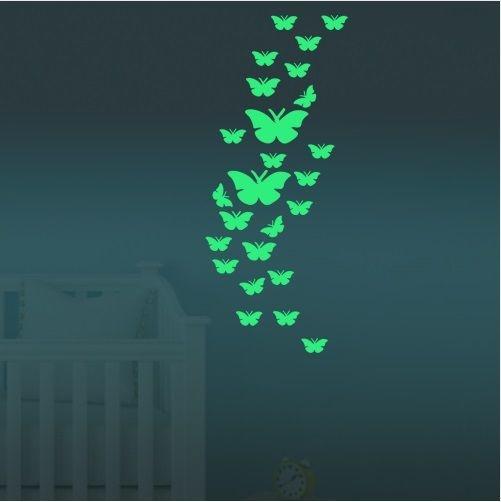 Muursticker vlinders glow in the dark