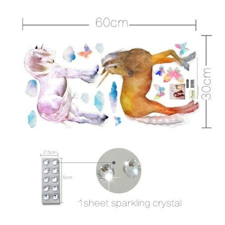 Muursticker eenhoorns met diamantjes