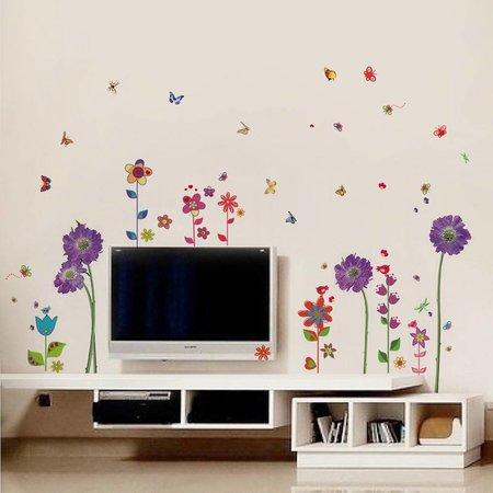 Muursticker met bloemen in paars en verschillende kleuren