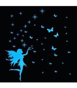 Muursticker glow in the dark elfje met vlinders blauw