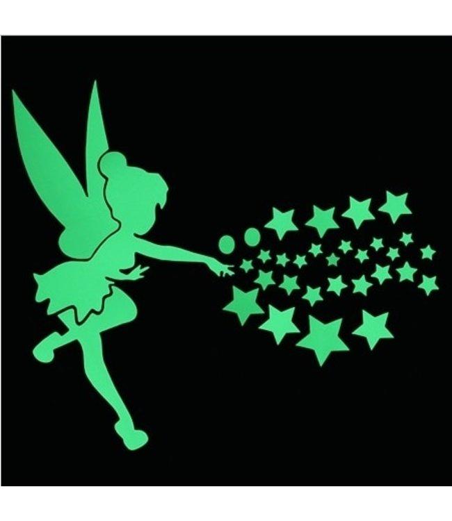 Muursticker glow in the dark vliegend elfje met sterren