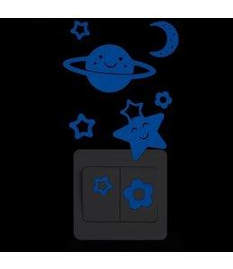 Muursticker glow in the dark planeetje blauw