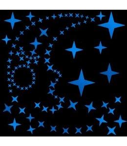 Muursticker glow in the dark sterren  v2 blauw