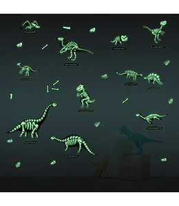 Muursticker glow in the dark dino's