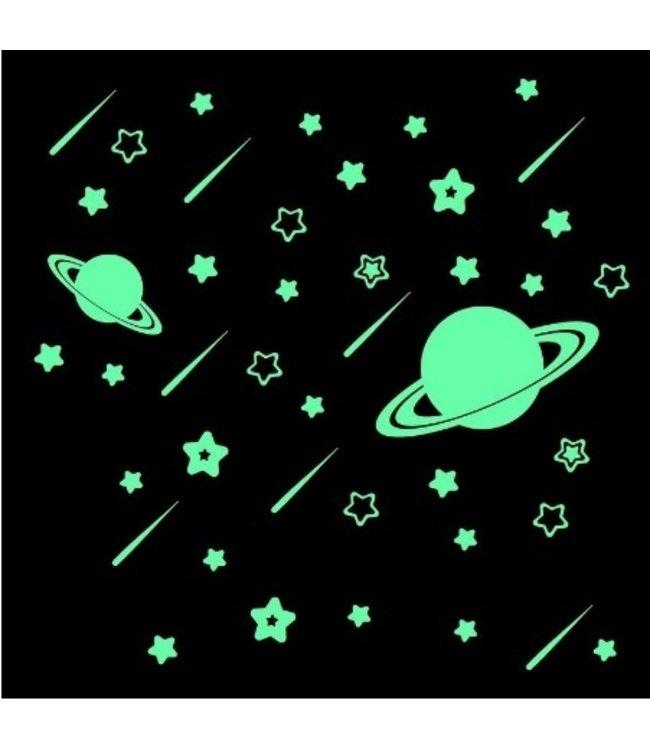 Muursticker glow in the dark sterren en planeten