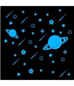 Muursticker glow in the dark sterren en planeten blauw