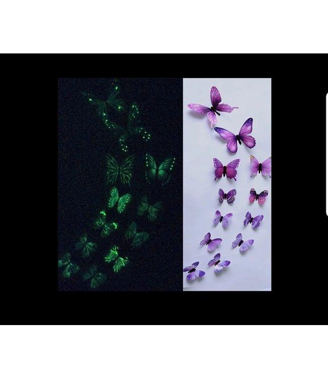 Glow in the dark 3D vlinders paars