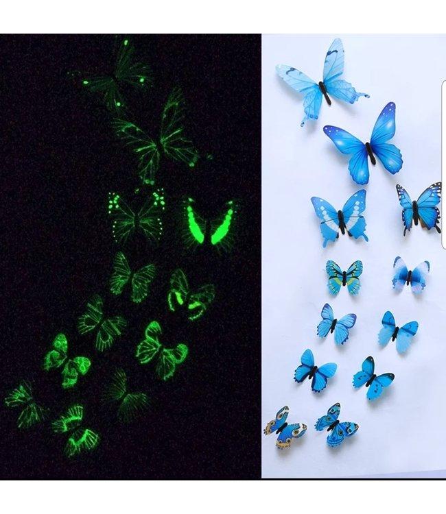 Glow in the dark 3D vlinders blauw