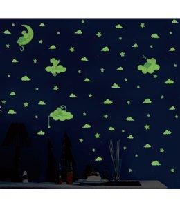 Muursticker  schattige glow in the dark muisjes met sterren en wolkjes