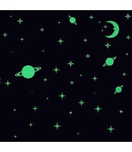 muursticker glow in the dark maan sterren en planeten