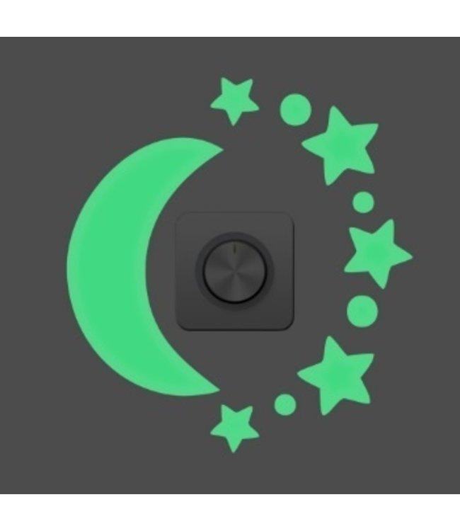 muursticker glow in the dark maan met sterren