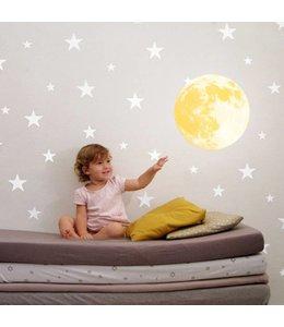 Muursticker glow in the dark maan geel
