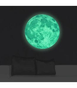 Muursticker glow in the dark maan 50 x 50 cm