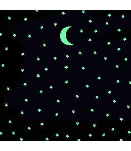 Muursticker glow in the dark maan met 100 sterren