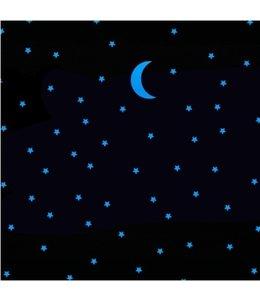 Muursticker glow in the dark maan met 100 sterren blauw