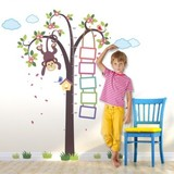 Muursticker groeimeter jungle aapje in boom