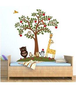 Muursticker appelboom met diertjes