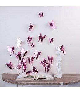 3D vlinders spiegel effect roze