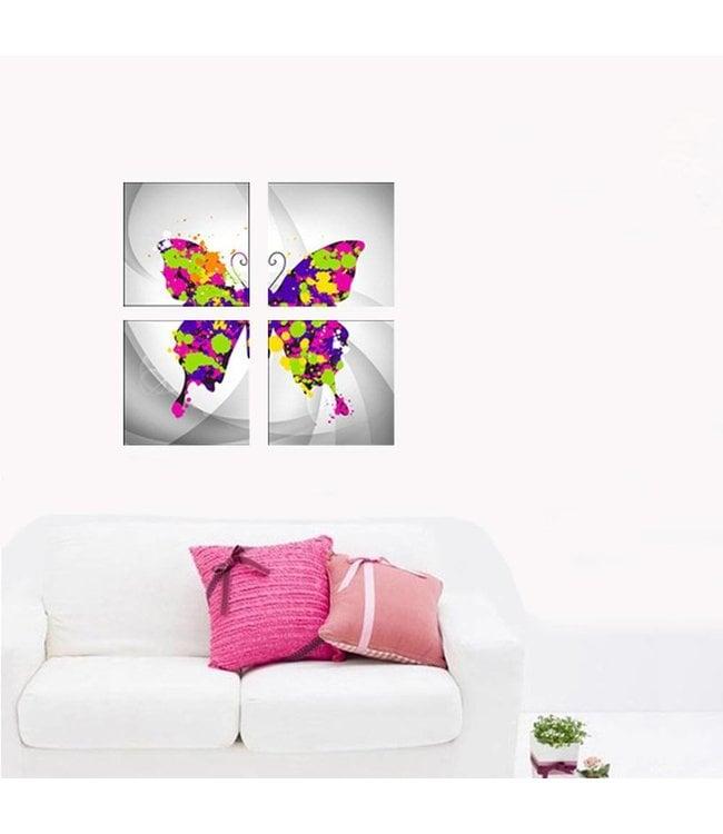 """Muursticker mooie """"canvas"""" vlinder"""