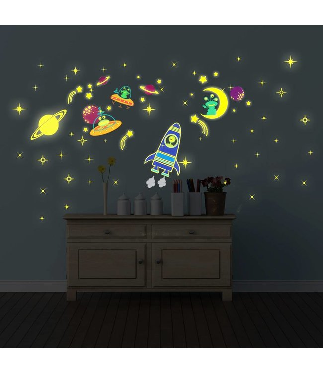 Muursticker glow in the dark galaxy XL