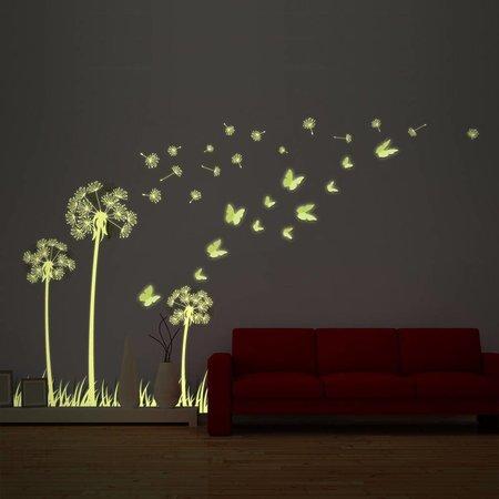 Muursticker glow in the dark mooie paardenbloem met 3D vlinders