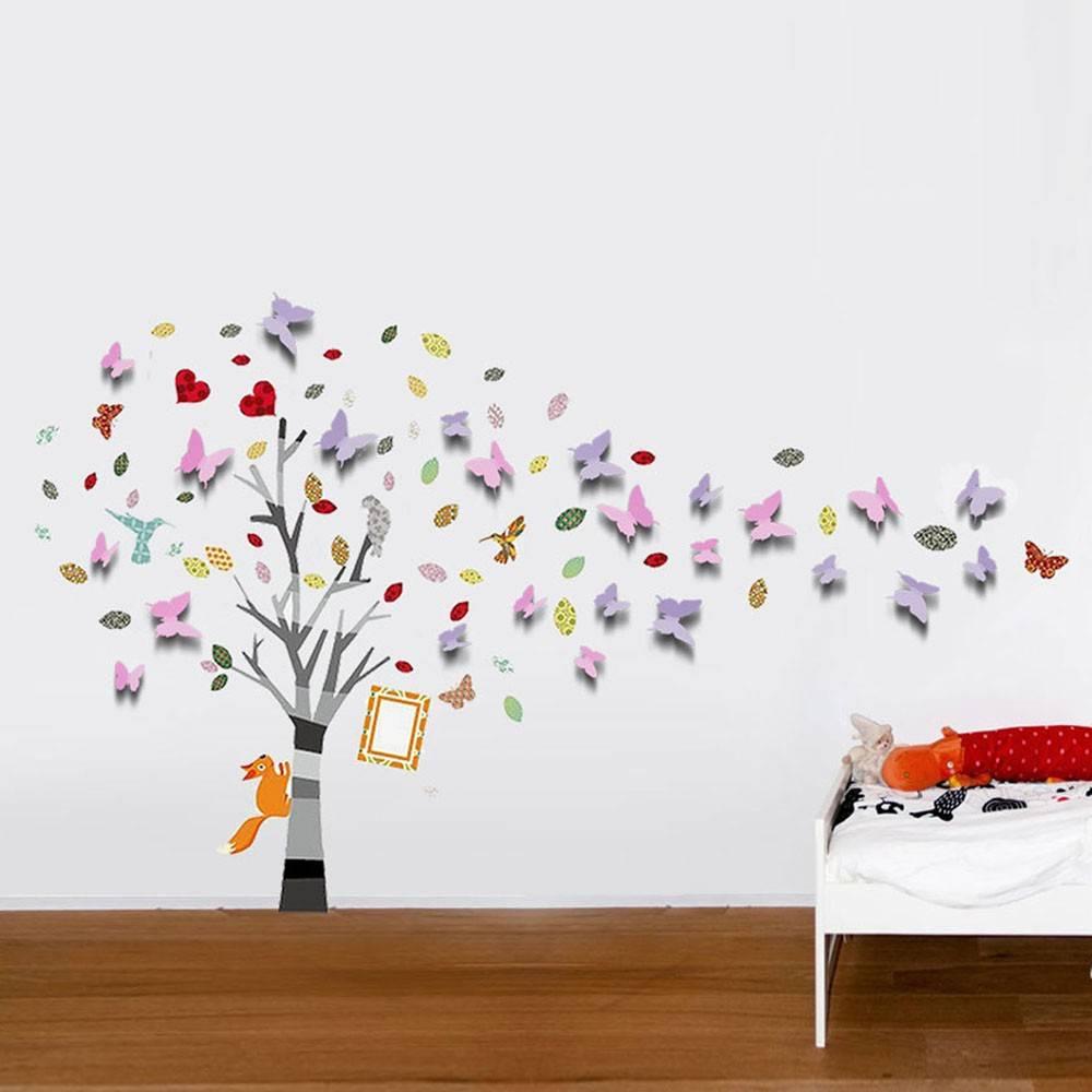 Muursticker mooie boom met 3D vlinders