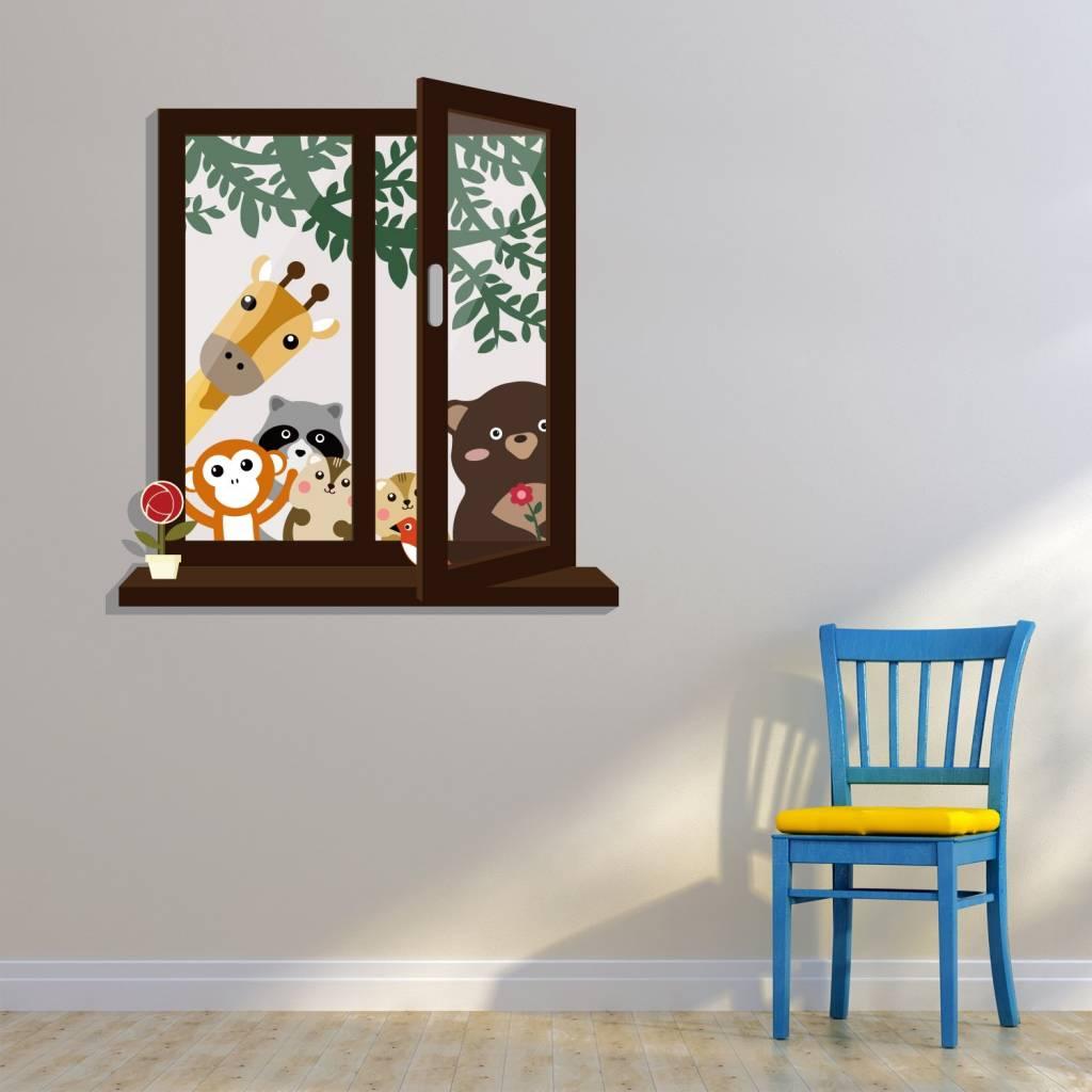 Muursticker open raam met dierenvriendjes