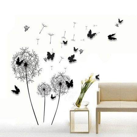 Muursticker paardenbloemen met 3D vlinders