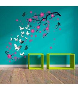 Muursticker mooie bloesemtak roze met spiegelvlinders