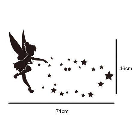 Muursticker spiegel elfje met sterren