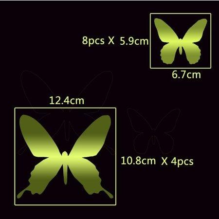 3D vlinders spiegel effect goud