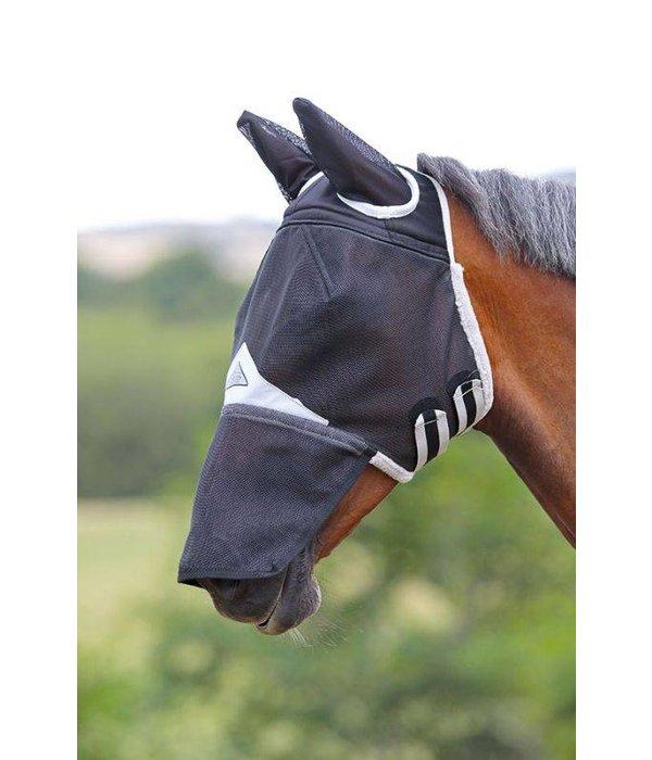 Shires Sterk veld vliegenmasker met oren en neusflap